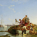 Artist At His Easel And Shipping Beyond by Pieter Christiaan Cornelis Dommelshuizen