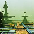 Artwork Of An Alien City On A Circuit Board by Julian Baum