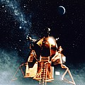 Artwork Of Apollo 11 Lunar Module On The Moon by Julian Baum