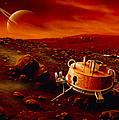 Artwork Of Huygens Probe On The Surface Of Titan by Detlev Van Ravenswaay