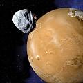 Asteroid Near Mars, Artwork by Detlev Van Ravenswaay