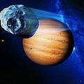 Asteroid Passing Jupiter by Detlev Van Ravenswaay