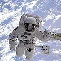 Astronaut Gernhardt On Robot Arm by Nasa