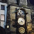 Astronomical Clock At Night by Sally Weigand