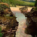 Athabasca Falls Evening by Shirley Sirois