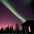 Aurora Borealis Above Cabin, Northwest by Jiri Hermann