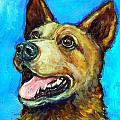Australian Cattle Dog   Red Heeler  On Blue by Dottie Dracos