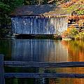 Autumn Crosses The Bridge - Greeting Card by Mark Valentine