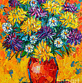 Autumn Flowers Gorgeous Mums - Original Oil Painting by Ana Maria Edulescu