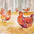Autumn Hens by Carolyn Doe