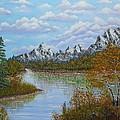 Autumn Mountains Lake Landscape by Georgeta  Blanaru