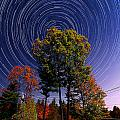 Autumn Star Trails In New Hampshire by Larry Landolfi