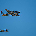 B25 Mitchell Bomber With Corsair Mustang Fighter Escort by Paul Mangold