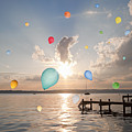 Balloons Floating Over Still Lake by Henglein and Steets