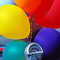 Balloons Tied To Parking Meter by Garry Gay