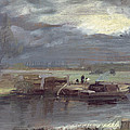 Barges On The Stour With Dedham Church In The Distance by John Constable