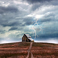 Barn In Lightning Storm by Jill Battaglia