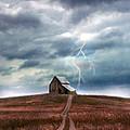 Barn In Lightning Storm by Jill Battaglia