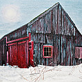 Barn In Snow Southbury Ct by Stuart B Yaeger