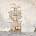 Barque And Tug by Henry Scott Tuke