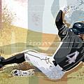 Baseball Player Sliding Into Base by Greg Paprocki