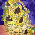 Basket Of Sunflowers by Theresa Jones