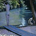 Bather About To Plunge Into The River Yerres by Gustave Caillebotte