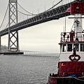Bay Bridge And Fireboat In The Rain by Jarrod Erbe