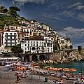 Beach Scene In Amalfi On The Amalfi Coast In Italy by David Smith
