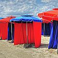 Beach Umbrellas Nice France by Dave Mills