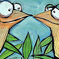 Beak To Beak On A Branch by Tim Nyberg