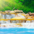 Beautiful Cascade Fall In Tropical Forest by MotHaiBaPhoto Prints