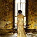Beautiful Woman In Lace Gown In Abandoned Room by Jill Battaglia