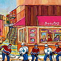 Beauty's Restaurant-montreal Street Scene Painting-hockey Game-hockeyart by Carole Spandau