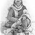Beggar 2  In The  Winter Street Sitting On Floor Wearing Worn Out Cloths by Rachel Hershkovitz