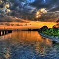 Sunset At Belle Isle Pier Detroit Mi by Nicholas  Grunas