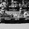 Bench Bums In Black And White by Rob Hans