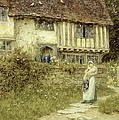 Beside The Old Church Gate Farm Smarden Kent by Helen Allingham