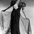 Bette Davis Wearing Black Taffeta Gown by Everett