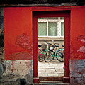 Bicycles In Red Doorway by photo by Sharon Drummond