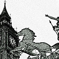 Big Ben And Boudica Charcoal Sketch Effect Image by David Pyatt