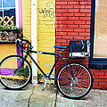 Bike Leaning On The Colorful City Walls Of Asheville  by Gray  Artus