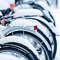 Bikes In Snow by Andrew  Michael