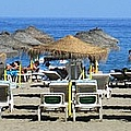 Bikini Girls Beach Umbrellas Costa Del Sol Spain by John Shiron