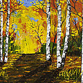 Birch Trees And Road Fall Painting by Keith Webber Jr