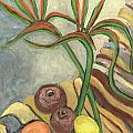 Bird Of Paradise Flowers And Fruits On A Carpet In Yellow Brown Green by Rachel Hershkovitz