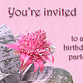 Birthday Party Invitation - Pink Flowering Bromeliad by Mother Nature