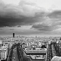 Black And White Aerial View Of An Overcast Sky Above The Eiffel Tower by Stockbyte