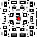 Geometric Abstract Black White Red Art No.220. by Drinka Mercep