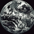Black And White Image Of Earth by Stocktrek Images